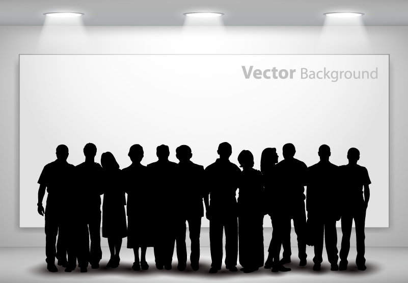 Gallery Exhibition People Silhouette Vector
