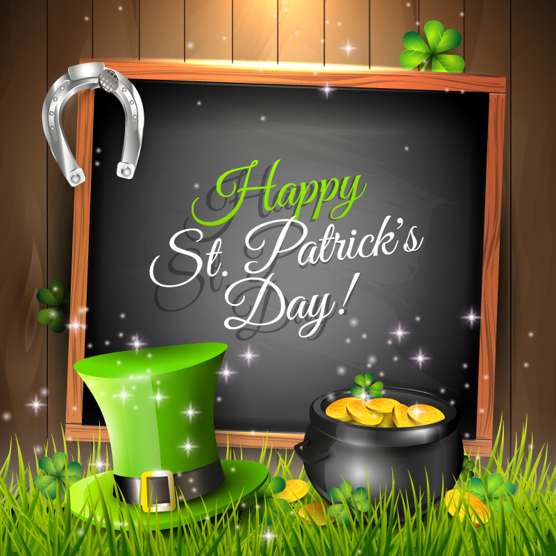 Happy St. Patrick's Day Blackboard Vector