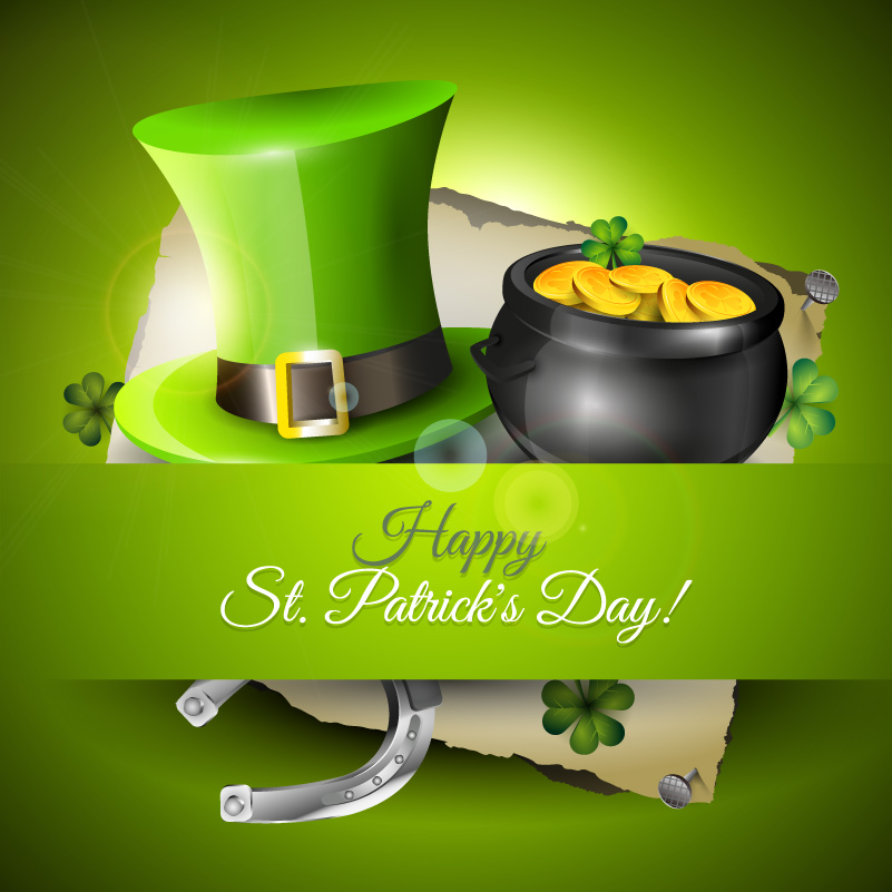 Happy St. Patrick's Day Thumbtack Vector