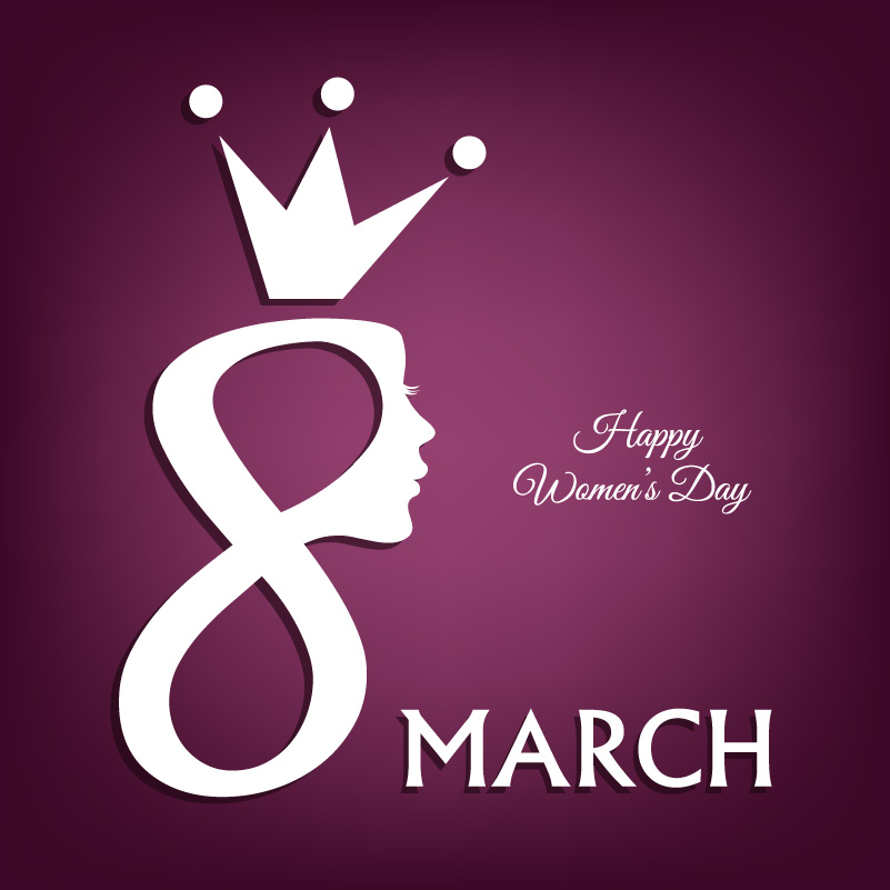 Happy Women's Day Crown Vector