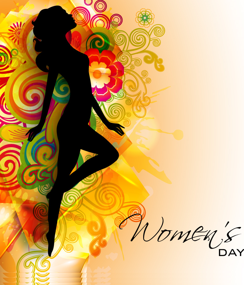 Happy Women's Day Curve Background Vector