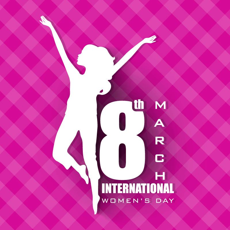Happy Women's Day Dancing Woman Vector