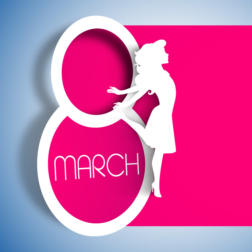 Happy Women's Day Female Silhouette Vector