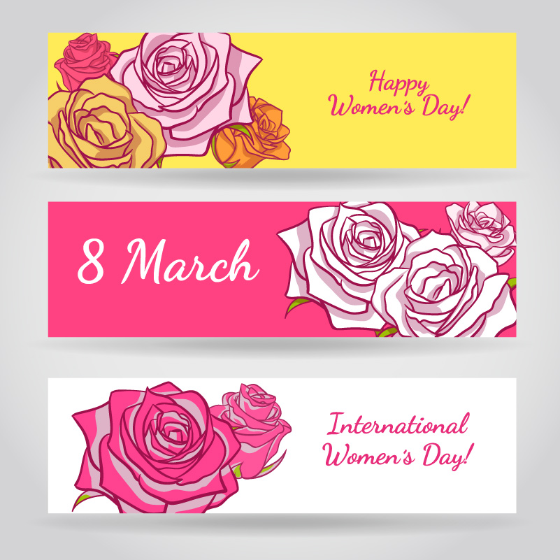 Happy Women's Day Rose Banners Vector