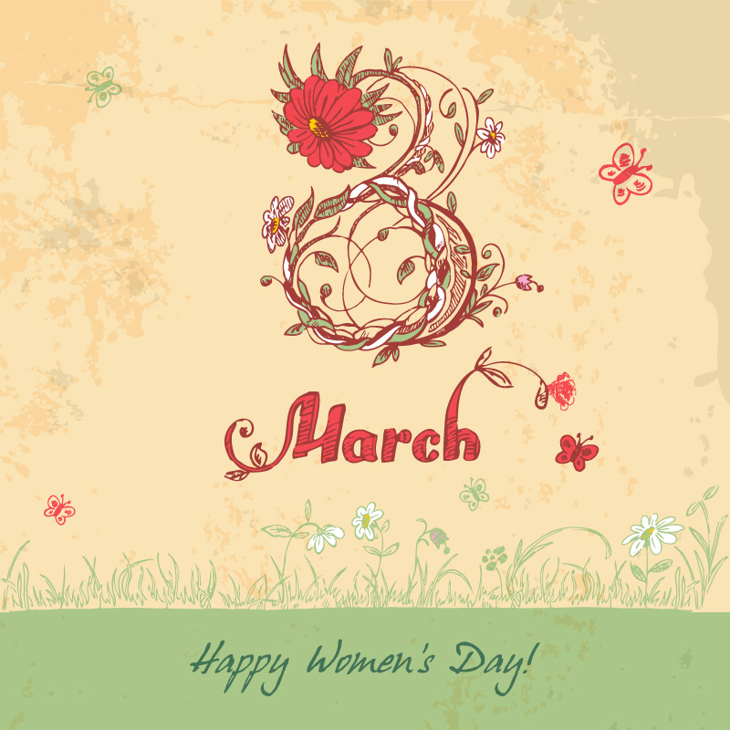 Happy Women's Day Vintage Flower Vector