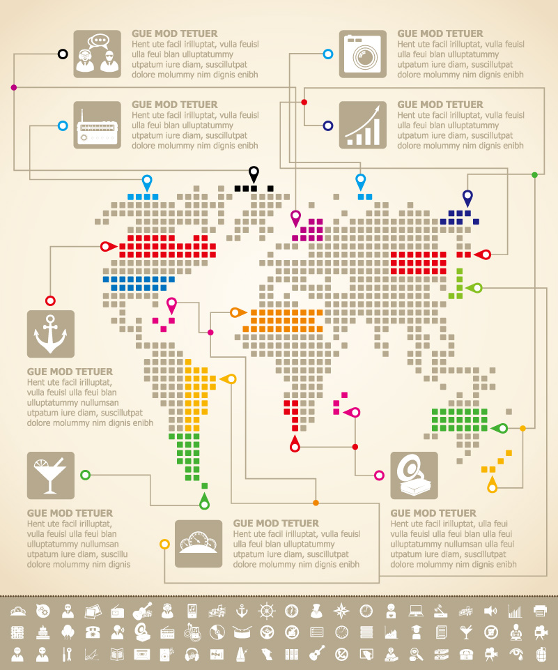 Infographics Map Data Analysis Vector