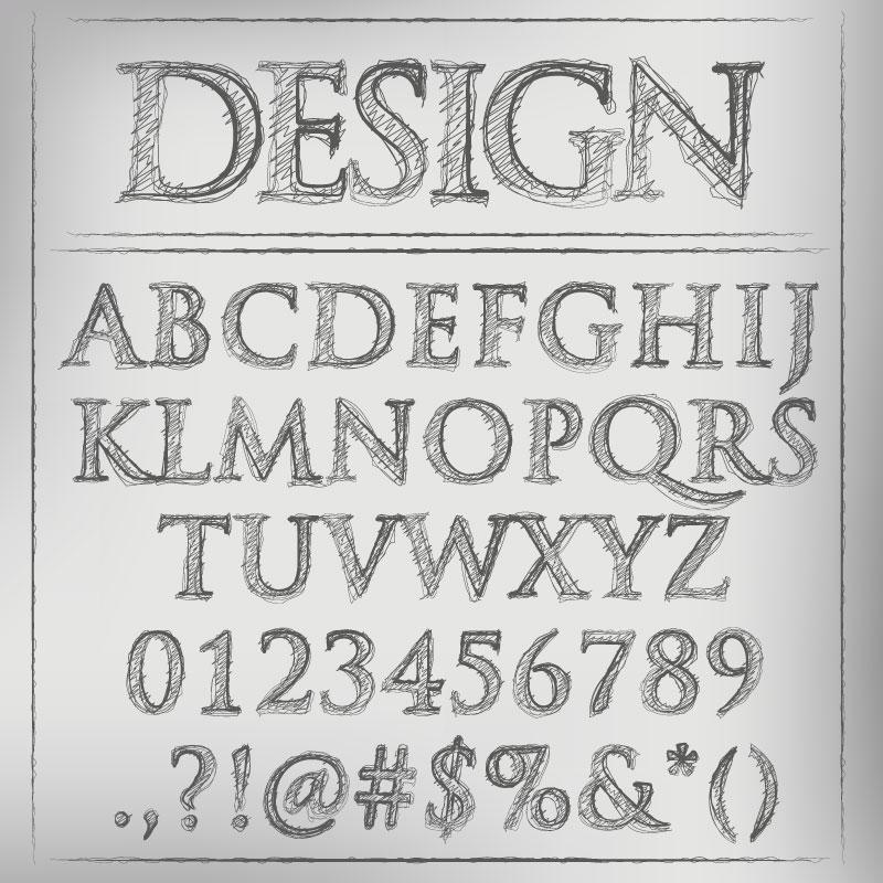 Pen Font Design Vector