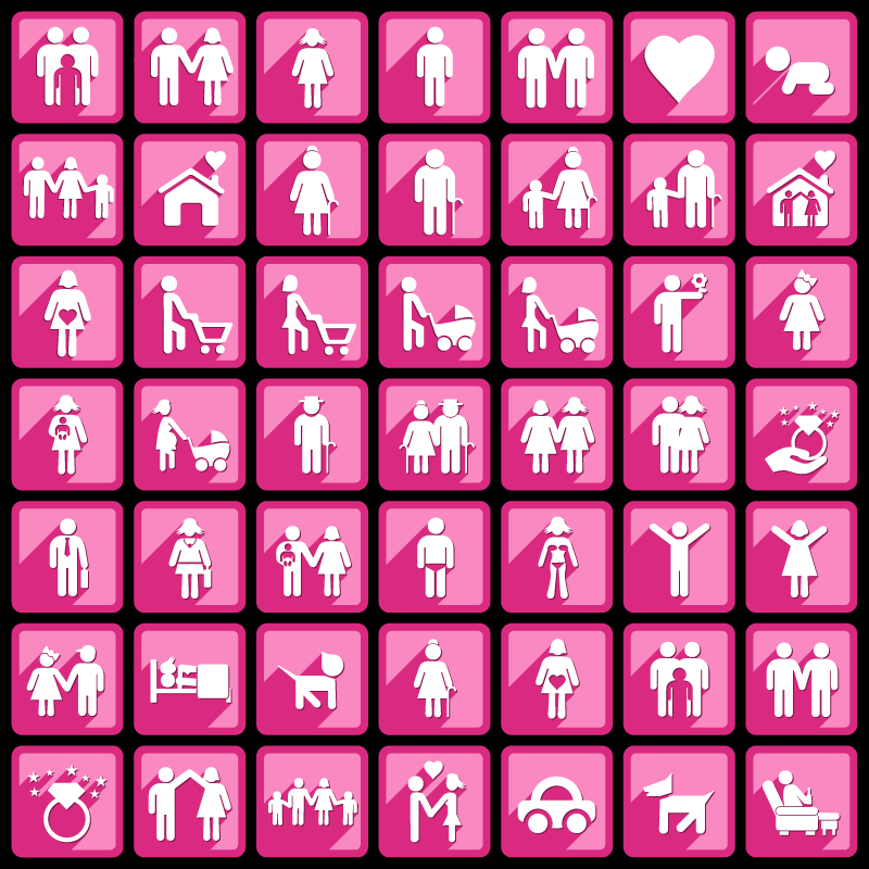 Pink Simple Character Icons Vector