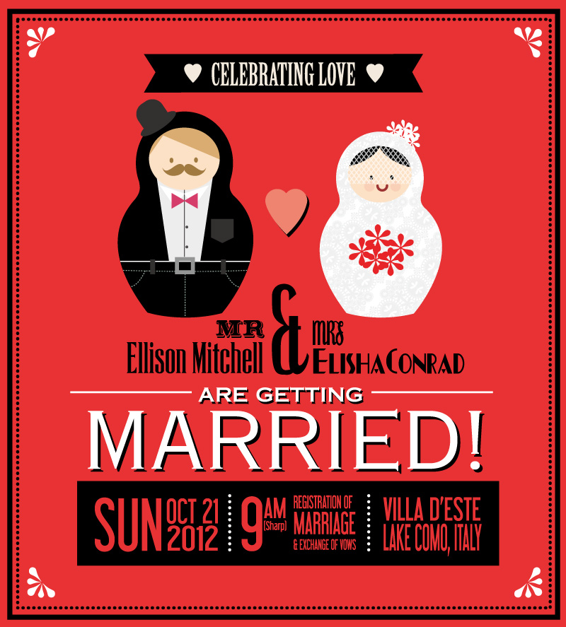 Red Playful Poster Wedding Vector