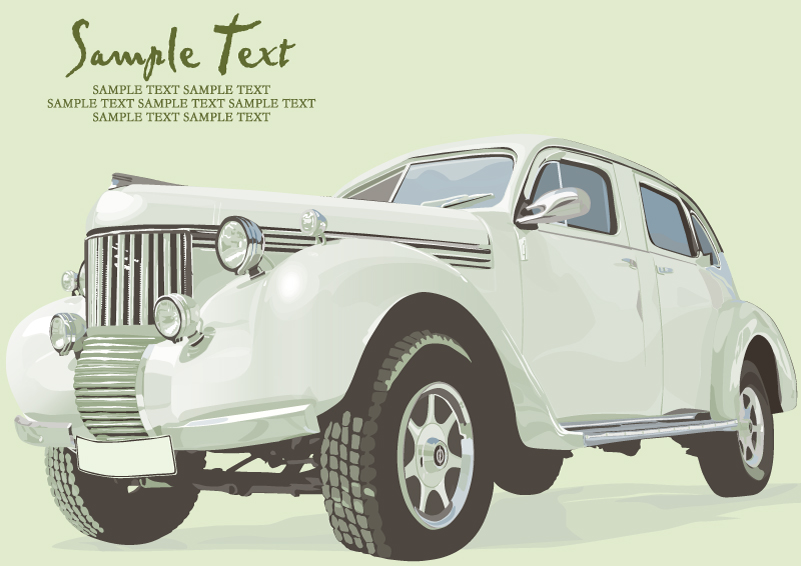 Retro White Car Vector