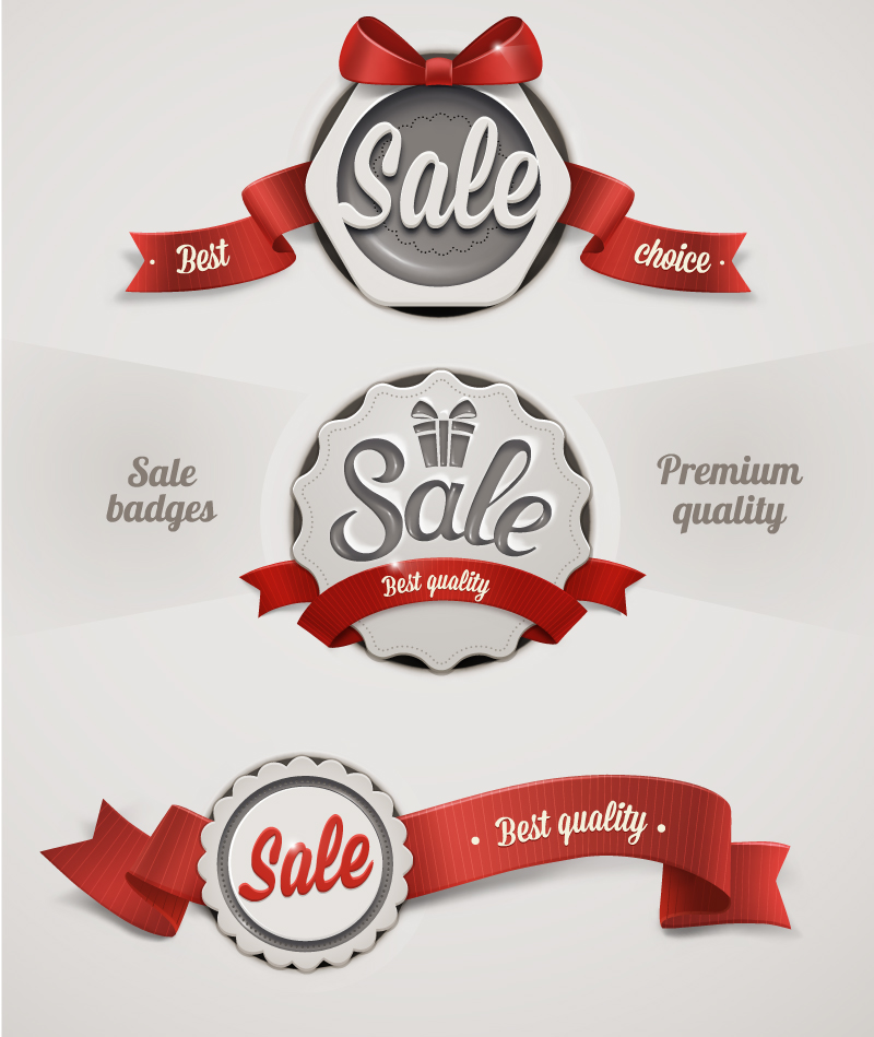 Ribbon Badge Sale Tags Vector