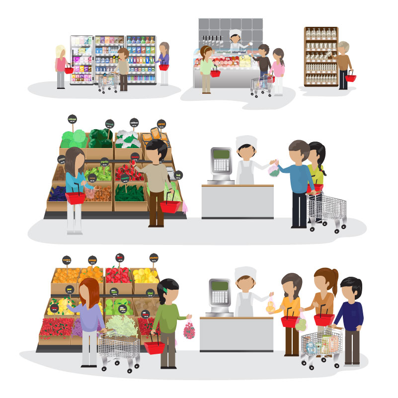 Supermarket Cashier Character Vector