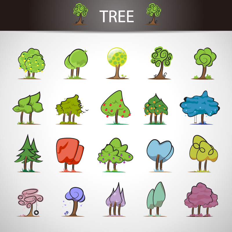 Trees Icons Design Vector