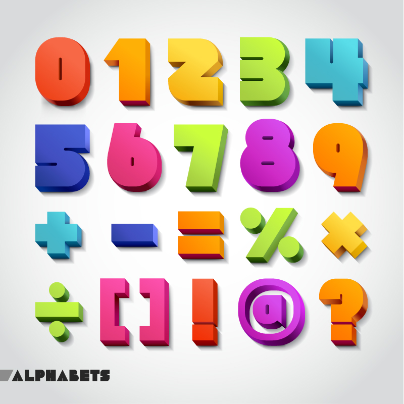 Alphabets Numbers and Symbols Vector