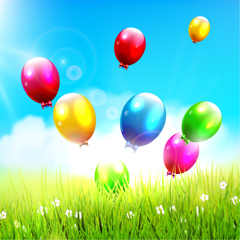Beautiful Balloons Background with Grass Vector