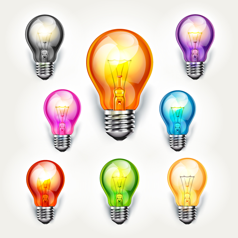 Beautiful Color Bulbs Design Vector
