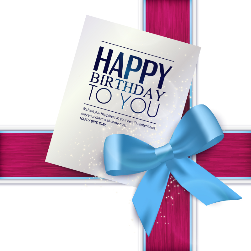 Bow Birthday Card Vector