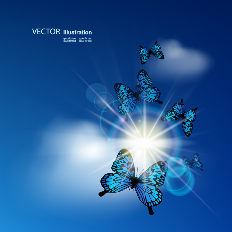 Butterfly Glow Background Vector