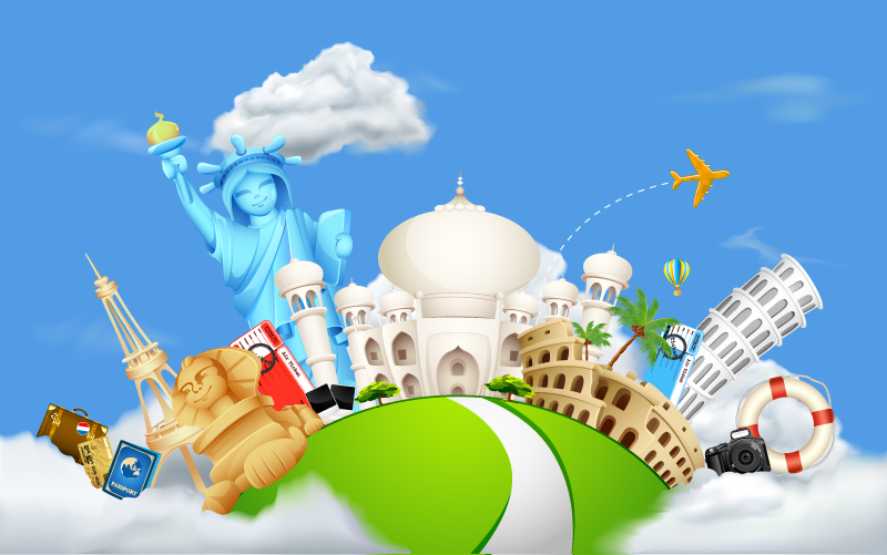 Cartoon Global Tourism Landscape Vector