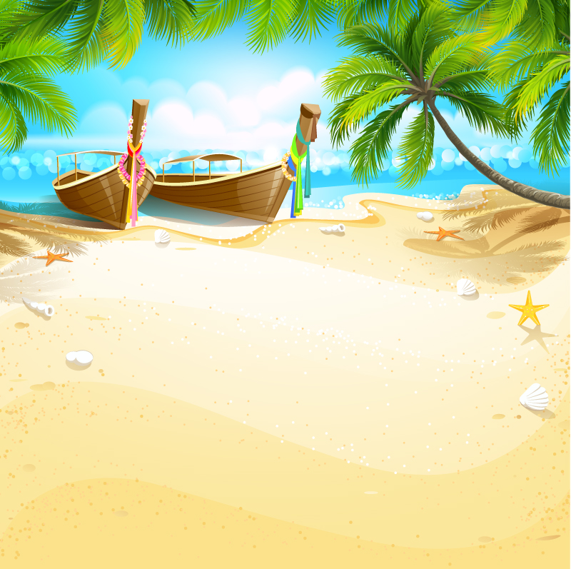 Cartoon Tropical Island Background Vector