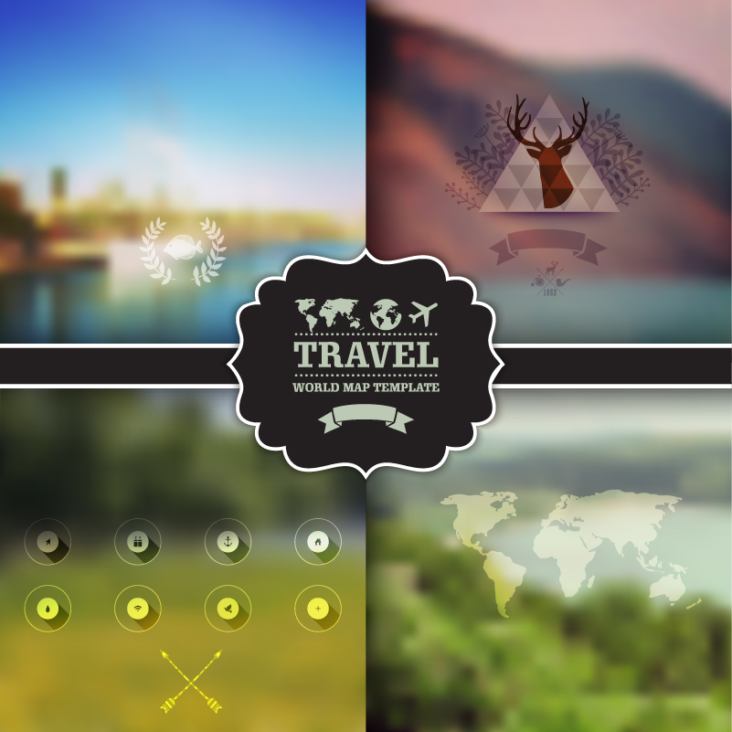 Creative Background Blur Travel Elements Vector