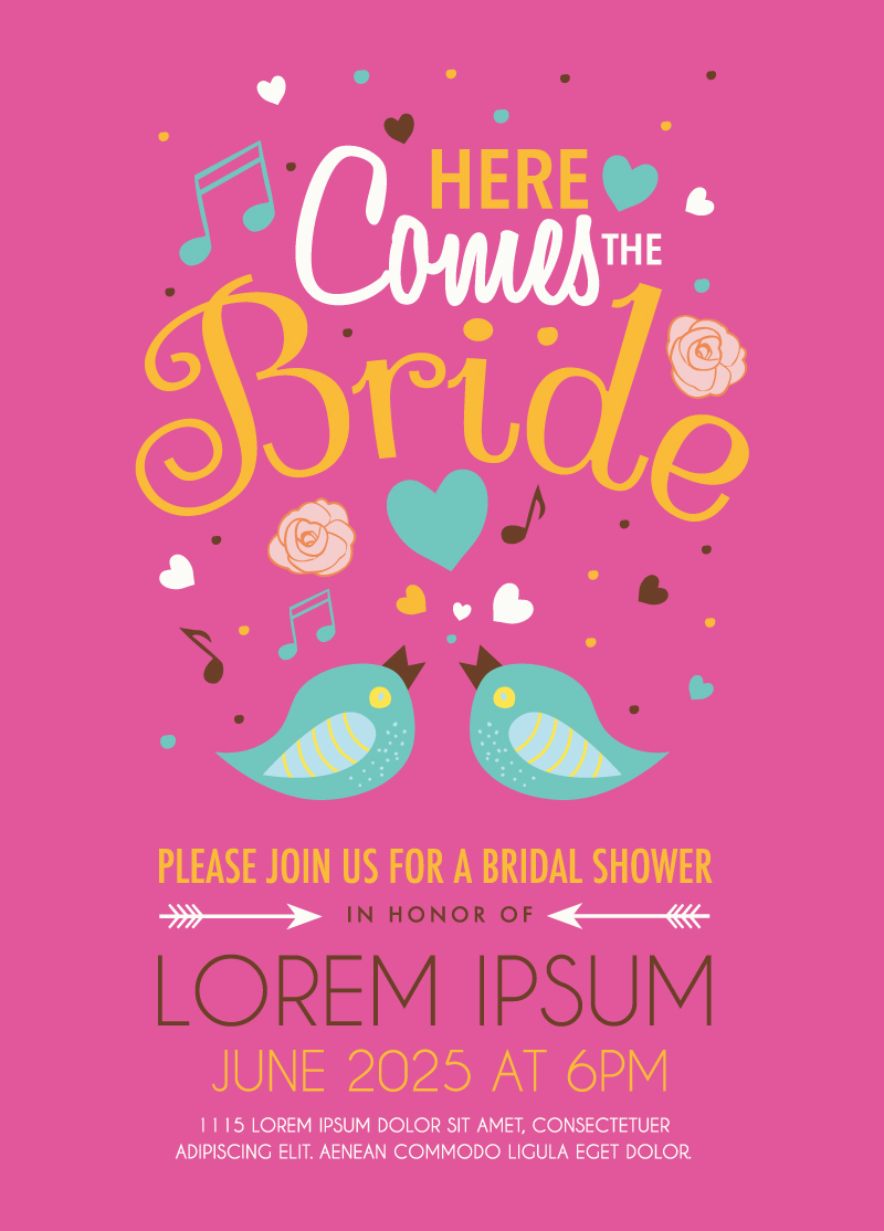 Cute Bird Wedding Invitation Card Vector