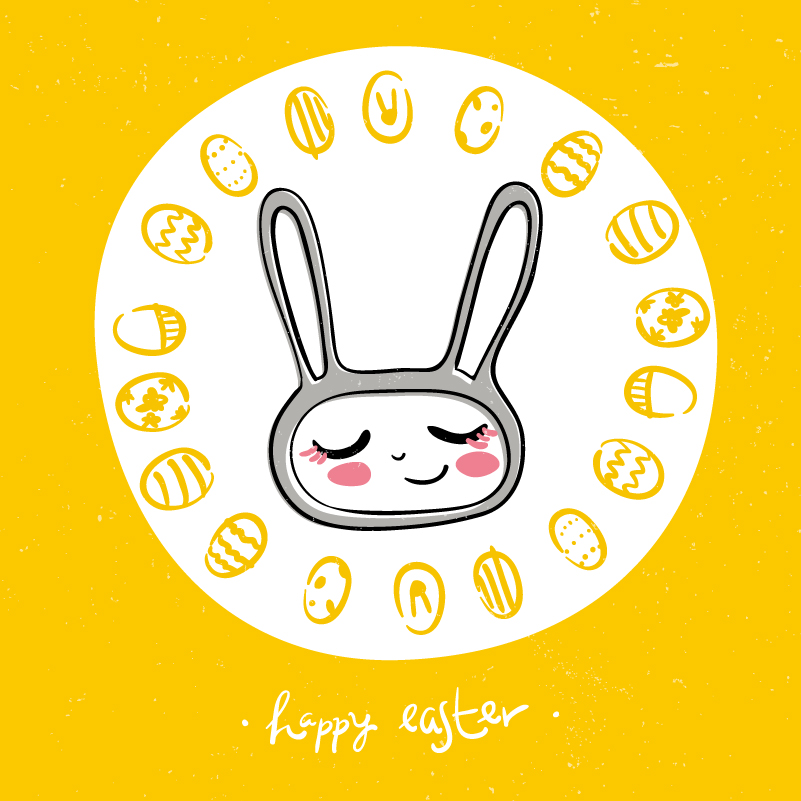 Easter Childlike Graffiti Background Vector