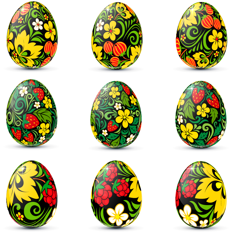 Easter Flower Egg Vector