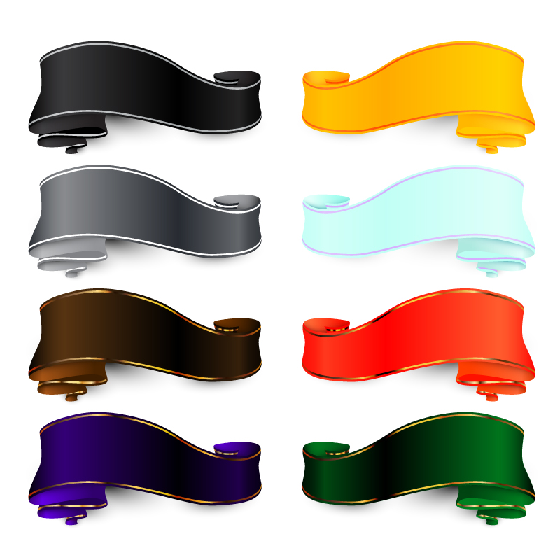 Eight Color Ribbon Design Vector