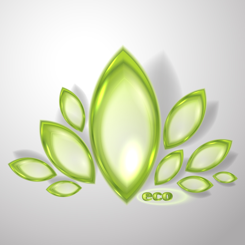 Exquisite Crystal Green Petals Vector