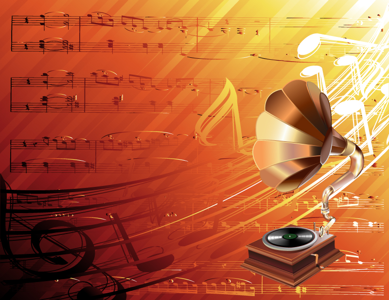 Gramophone Music and Musical Notes Vector