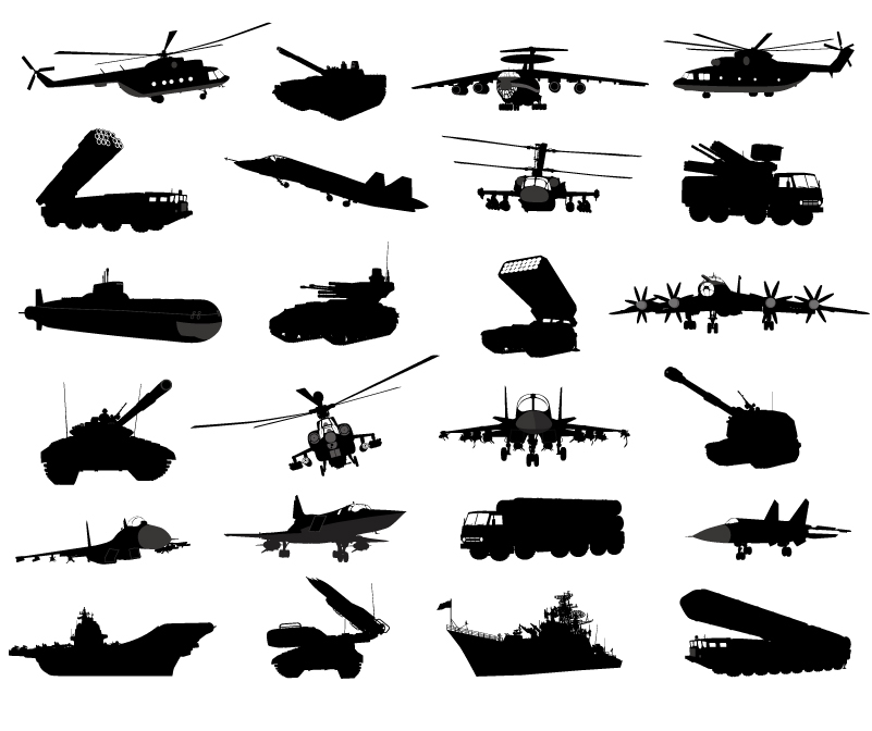 Modern Military Weapons Silhouettes Vector