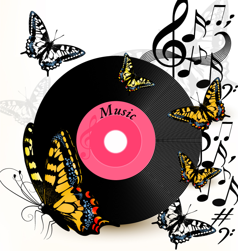 Music Discs with Butterfly Background Vector