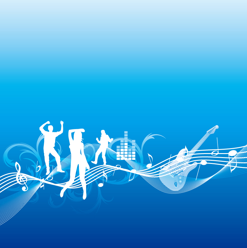 Music and Dance Figures Silhouette Vector