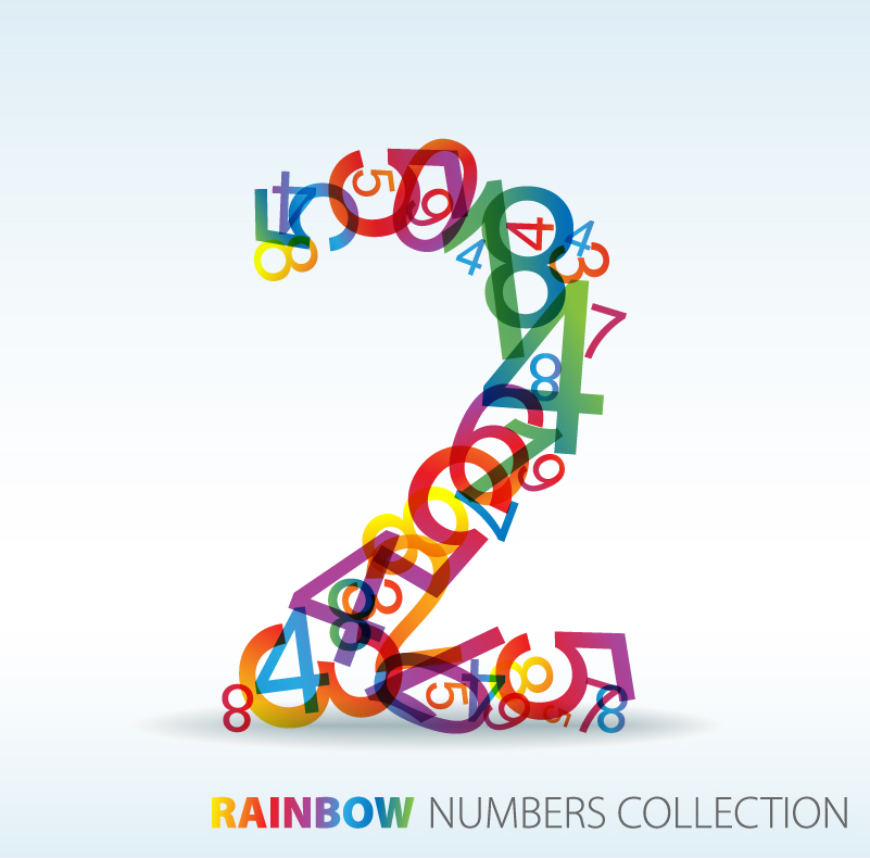Rainbow Numbers Collection Vector