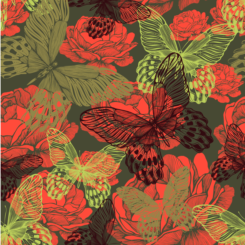 Red Peony Flower and Butterfly Background Vector
