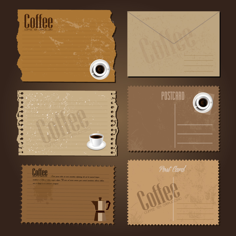 Retro Coffee Post Card Vector