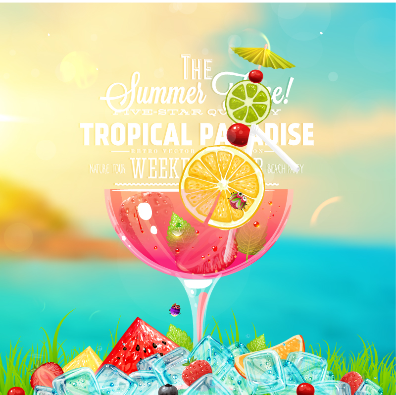 Summer Ice Drink Posters Vector