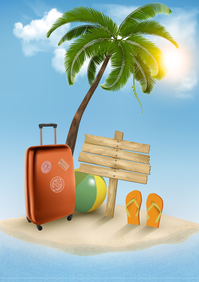 Summer Vacation Beach Background Vector