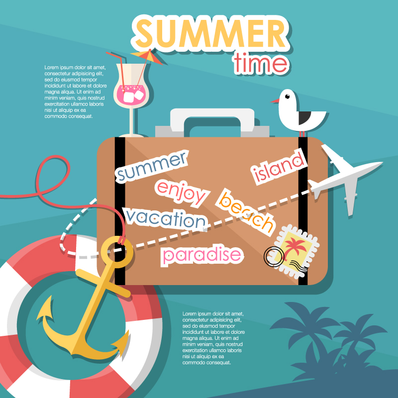 Summer Vacation Suitcase Background Vector