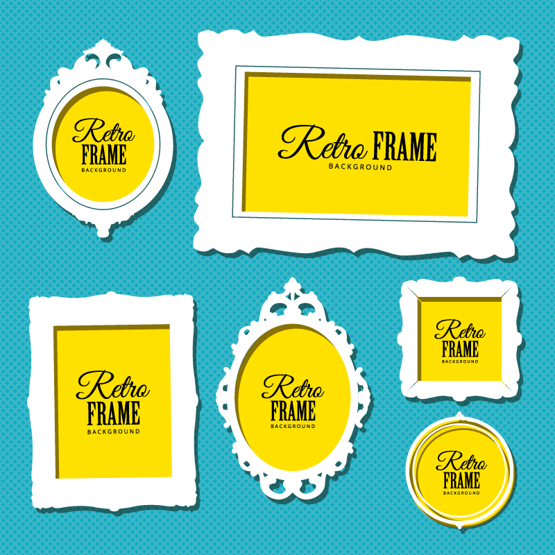 White Retro Frame Background Vector