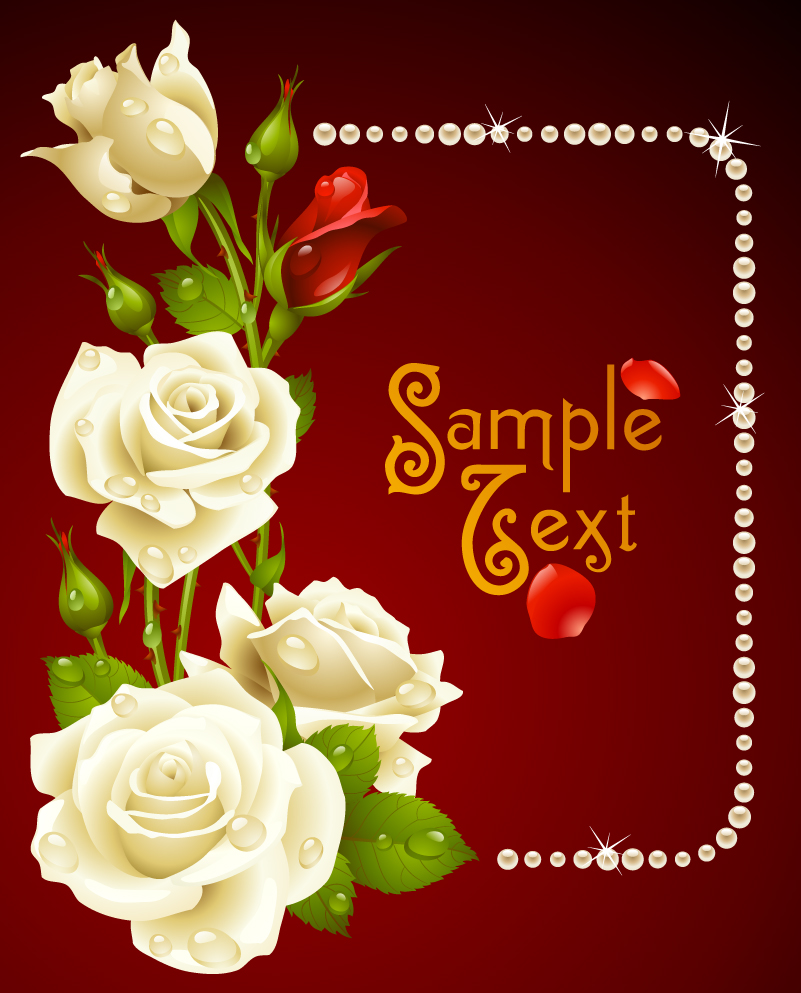 White Roses and Pearls Background Vector