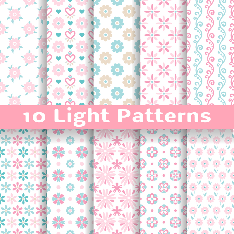 10 Light Patterns Vector