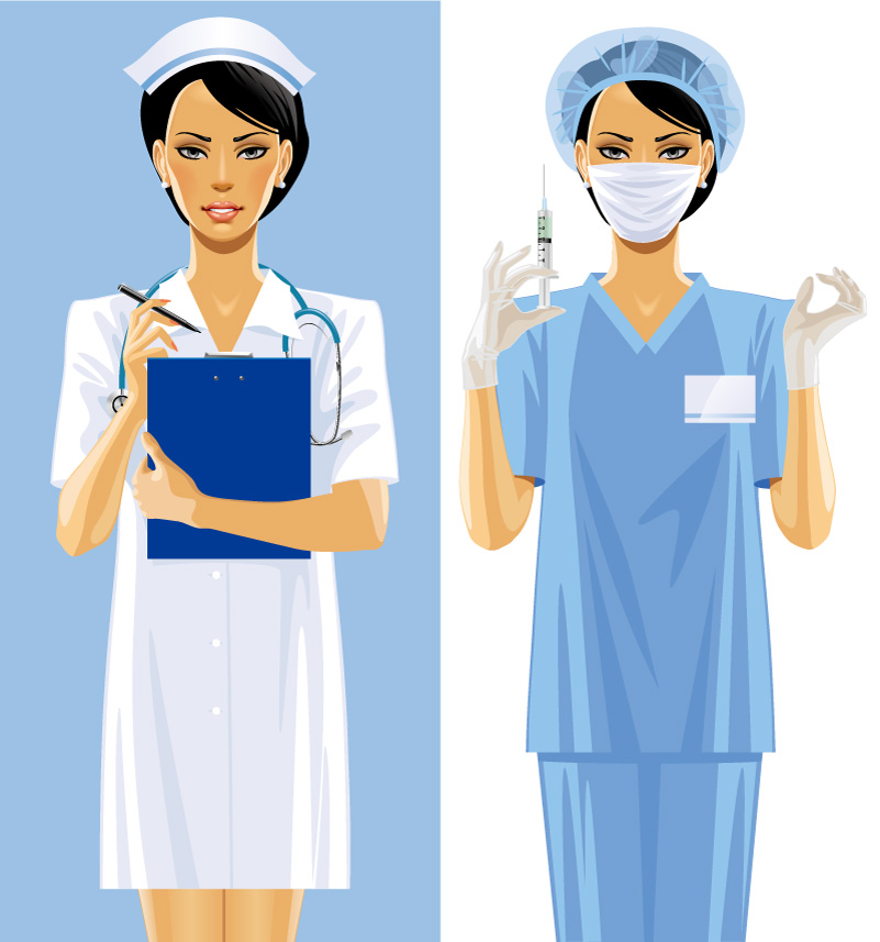 2 Female Medical Staff Design Vector