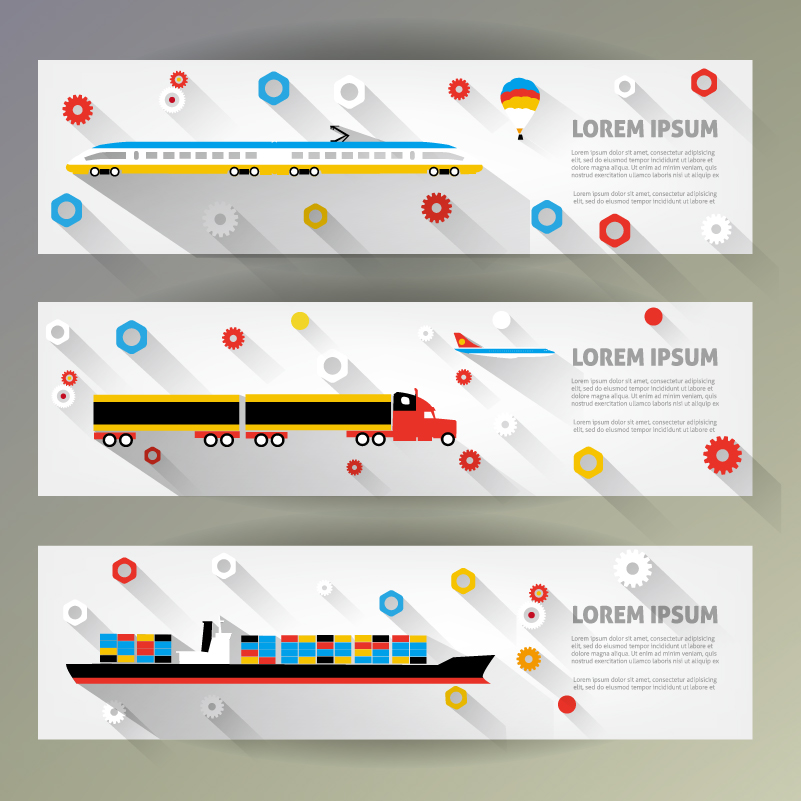 3D Transport Banner Vector