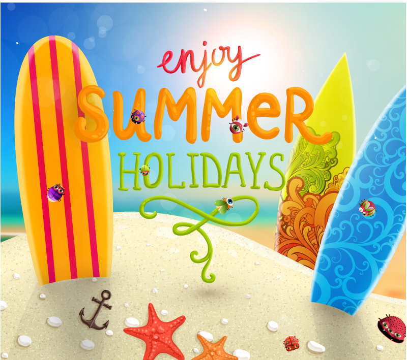 Beautiful Summer Beach Vacation Background Vector