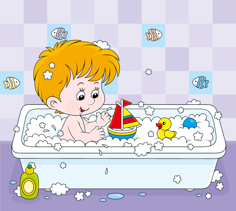 Cartoon Boy Bathing Vector