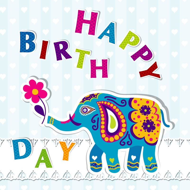 Cartoon Elephant Birthday Cards Vector
