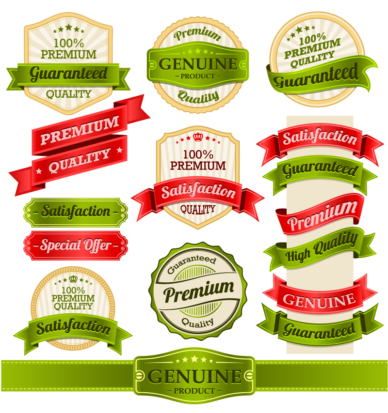 Exquisite Ribbon Label Design Vector