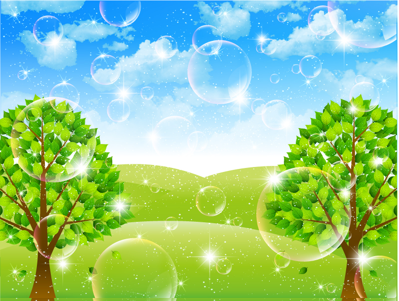 Fantasy Bubbles Tree Background Vector